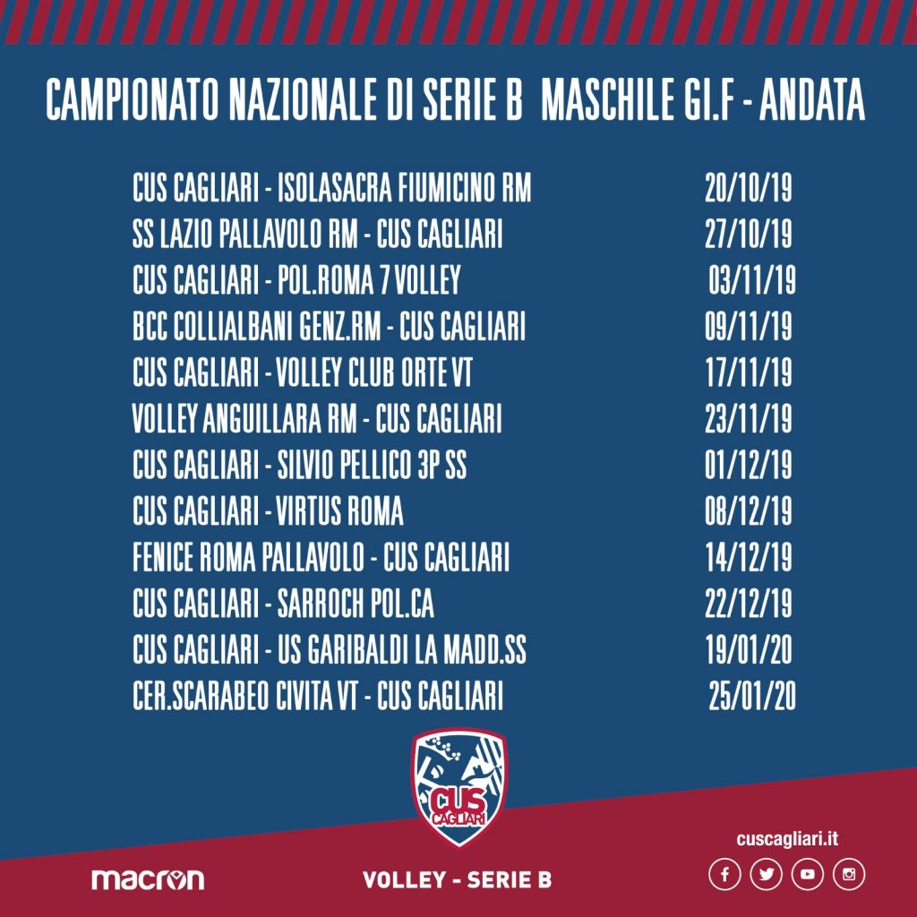 Calendario Volley Maschile.Volley Cus Cagliari Sandalyon 2018 2019